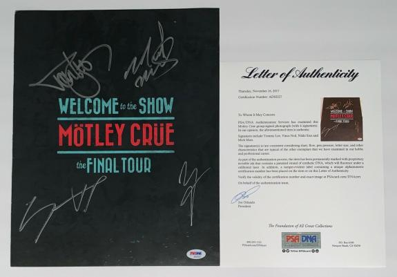 Motley Crue X4 Tommy Lee Nikki Sixx Mick & Vince Signed Final Tour Program Psa