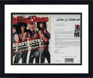 Motley Crue X4 Tommy Lee Nikki Vince & Mick Signed Rolling Stone Magazine Psa