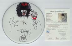 Motley Crue X4 Tommy Lee Vince Neil Nikki Sixx Mick Mars Signed Drumhead Jsa Loa