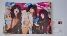 Motley Crue X4 Tommy Lee Vince Neil Nikki Sixx & Mick Mars Signed Poster Jsa Loa