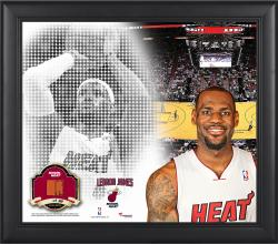 "LeBron James Miami Heat Framed 15"" x 17"" Mosaic Collage with Team-Used Basketball-Limited Edition of 99"