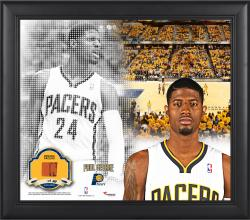 "Paul George Indiana Pacers Framed 15"" x 17"" Mosaic Collage with Team-Used Basketball-Limited Edition of 99"