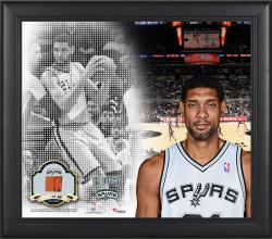 """Tim Duncan San Antonio Spurs Framed 15"""" x 17"""" Mosaic Collage with Team-Used Basketball-Limited Edition of 99"""