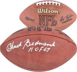 Philadelphia Eagles Chuck Bednarik Autographed Rozelle Pro Football with ''HOF 67'' Inscription - Mounted Memories