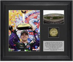 "Denny Hamlin 2012 STP 400 Race Winner Framed 6"" x 8"" Photo w/ Plate & Gold Coin - Limited Edition of 311 - Mounted Memories"