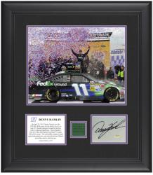 "Denny Hamlin 2012 STP 400 Winner 8"" x 10"" Photo with Autographed Card & Race-Used Flag - Limited Edition of 111 - Mounted Memories"