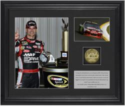 "Jeff Gordon Race Winner Framed 6"" x 5"" Photo with Plate & Gold Coin - Limited Edition of 324 - Mounted Memories"