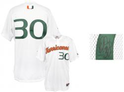 Jon Jay Miami Hurricanes Game Used Autographed Jersey - Mounted Memories