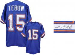 Tim Tebow Florida Gators Autographed Blue Jersey - Mounted Memories