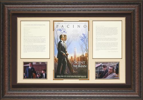 Movie poster signed by Al Pacino & Chris O'Donnell with Lt. Col. Frank Slade addresses Baird school disciplinary hearing script Framed 41×29