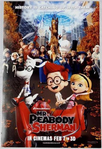 MR PEABODY & SHERMAN CAST SIGNED 20x30 PHOTO PATRICK WARBURTON ARIEL WINTER