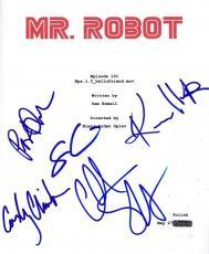 Mr. Robot Cast Signed Pilot Script Rami Malek Christian Slater Autograph 5x Coa