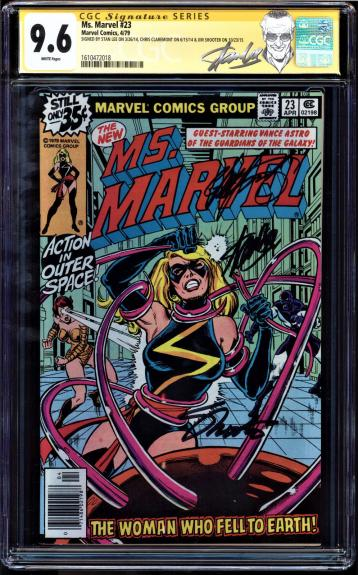 MS MARVEL #23 CGC 9.6 WHITE SS 3 Xs STAN LEE, CLAREMONT, SHOOTER CGC #1610472018