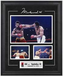 Muhammad Ali Framed 3-Photograph vs. Leon Spinks Collage - Mounted Memories