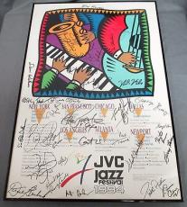 Multi Signed 1994 JVC Jazz Festival Newport Poster 30 Signatures Total