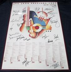 Multi Signed 1997 JVC Jazz Festival New York Poster 21 Signatures Total