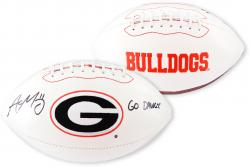 Aaron Murray Georgia Bulldogs Autographed White Panel Football with Go Dawgs Inscription - Mounted Memories