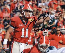 Aaron Murray Georgia Bulldogs Autographed 8'' x 10'' Pointing Photograph with Go Dawgs Inscription - Mounted Memories