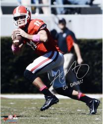 Aaron Murray Georgia Bulldogs Autographed 16'' x 20'' Passing Photograph with SEC All Time Leading Passer Inscription - Mounted Memories