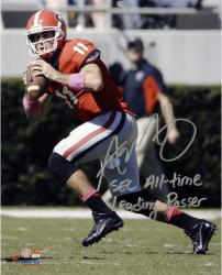 Aaron Murray Georgia Bulldogs Autographed 8'' x 10'' Passing Photograph with SEC All-Time Leading Passer Inscription - Mounted Memories