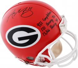 Aaron Murray Georgia Bulldogs Autographed Riddell Pro-Line Authentic Helmet with Multiple Inscriptions-Limited Edition of 11 - Mounted Memories