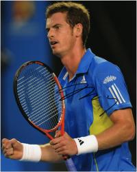 """Andy Murray Autographed 8"""" x 10"""" Blue Yellow Adidas Shirt Photograph"""