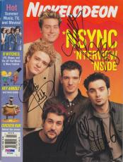 'N SYNC ALL 5 Signed Nickelodeon Magazine PSA/DNA JUSTIN TIMBERLAKE