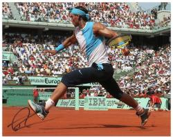 "Rafael Nadal Autographed 8"" x 10"" Light Blue Shirt Long Dark Shorts Photograph"