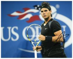 "Rafael Nadal Autographed 8"" x 10"" US Open Black Gray Fist Photograph"