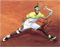 """Rafael Nadal Autographed 8"""" x 10"""" Yellow Green Clay Photograph"""