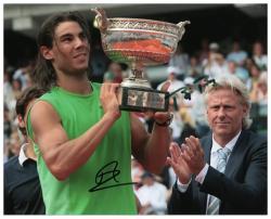 "Rafael Nadal & Bjorn Borg Dual Autographed 8"" x 10"" Trophy Photograph"
