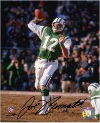 "Joe Namath New York Jets Autographed 8"" x 10"" Releasing Ball Green Uniform Photograph"