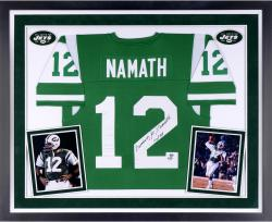 Joe Namath New York Jets Autographed Deluxe Framed Authentic Green Jersey with Multiple Inscriptions