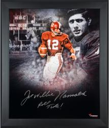 Joe Namath Alabama Crimson Tide Framed Autographed 20'' x 24'' In Focus Photograph with Roll Tide Inscription - Mounted Memories