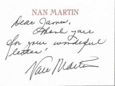 Nan Martin Signed Personal Card Twilight Zone