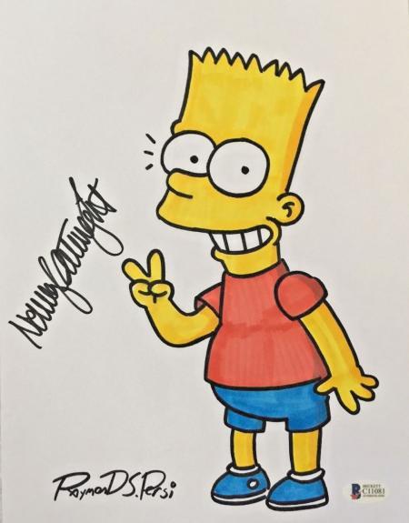 NANCY CARTWRIGHT Dual Signed The Simpsons Original Art Raymond S. Persi BAS COA