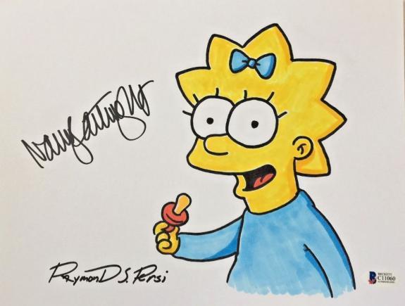 NANCY CARTWRIGHT Dual Signed The Simpsons Original Art Raymond S Persi BAS COA I