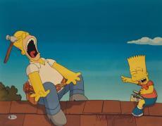 Nancy Cartwright Signed Bart Simpson And Homer Metallic 16x20 Photo *Beckett