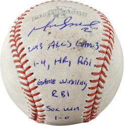 Mike Napoli Boston Red Sox 2013 American League Champions Autographed Baseball with Multiple Inscription - - Mounted Memories