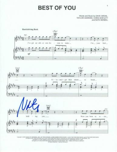 """Nate Mendel Signed Autograph """"best Of You"""" Sheet Music - Foo Fighters One By One"""
