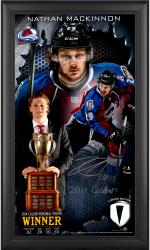 Nathan MacKinnon Colorado Avalanche 2014 Calder Trophy Winner Framed Autographed 10'' x 18'' Collage with Game-Used Puck-Limited Edition of 29