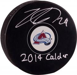 Nathan MacKinnon Colorado Avalanche Autographed Hockey Puck with 2014 Calder Inscription