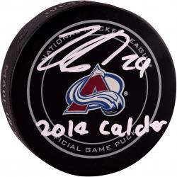 Nathan MacKinnon Colorado Avalanche Autographed Official Game Puck with 2014 Calder Inscription