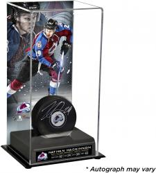 Nathan MacKinnon Colorado Avalanche Autographed Puck with Deluxe Tall Hockey Puck Case