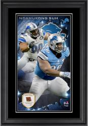 Ndamukong Suh Detroit Lions 10'' x 18'' Vertical Framed Photograph with Piece of Game-Used Football - Limited Edition of 250