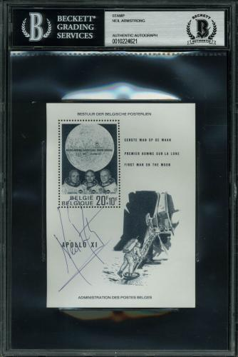 Neil Armstrong Apollo 11 Signed 1969 Belgian 1st Man On The Moon Stamp BAS Slab
