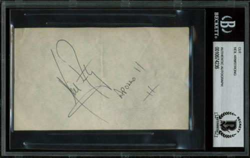 """Neil Armstrong """"Apollo 11"""" Signed 2.9x5 Cut Signature BAS Slabbed"""