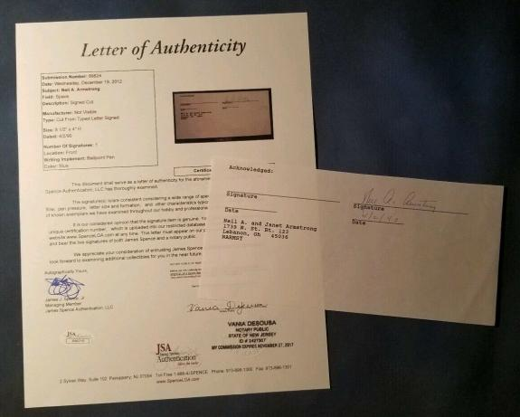 Neil Armstrong Apollo 11 Signed Document JSA AUTHENTIC AUTOGRAPH NASA