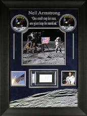 Neil Armstrong Apollo 11 Signed & Framed Cut Display PSA/DNA Slabbed