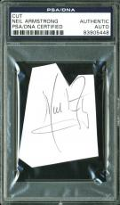 Neil Armstrong Signed 2.2x2.75 Cut Signature PSA/DNA Slabbed